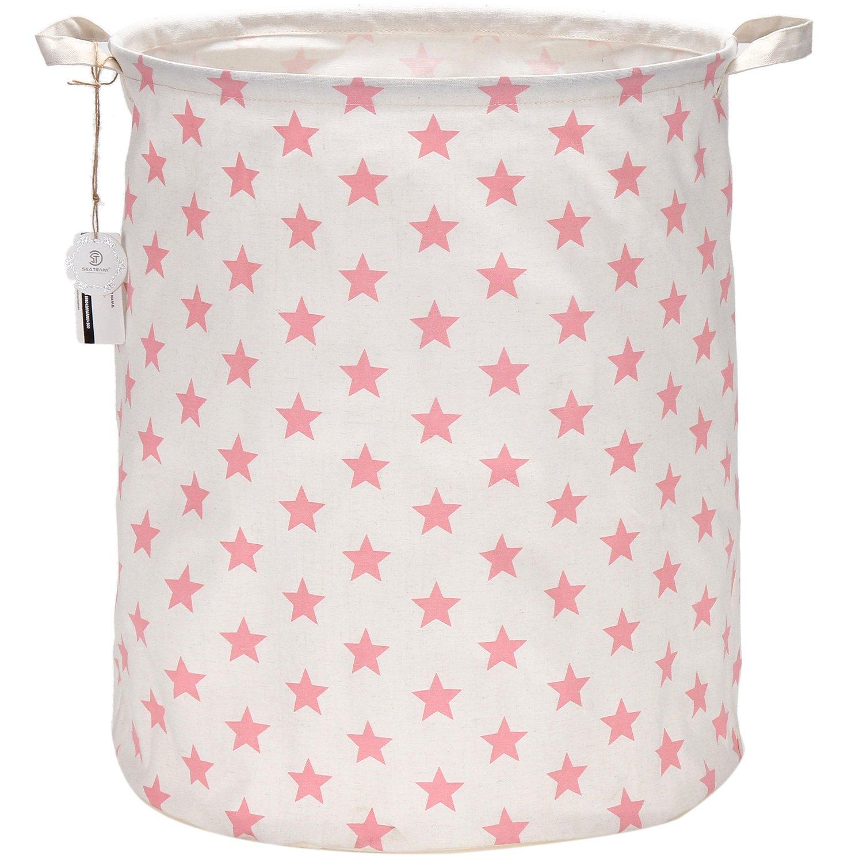 Sea Team 19.7 Large Sized Waterproof Coating Ramie Cotton Fabric Folding Laundry Hamper Bucket Cylindric Burlap Canvas Storage Basket with Stylish Pink & White Star Design ST-LH0004E