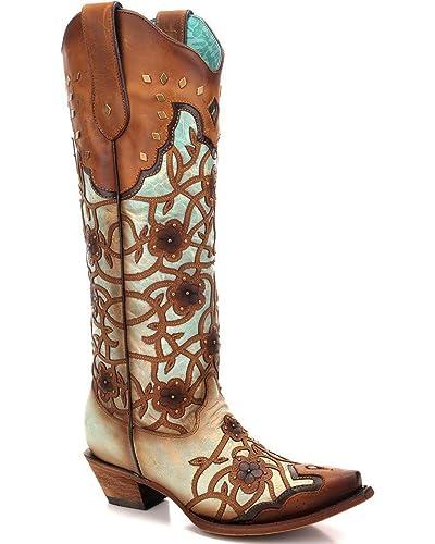 Women's Flower Overlay Studded Tall Western Boot Snip Toe - C3266