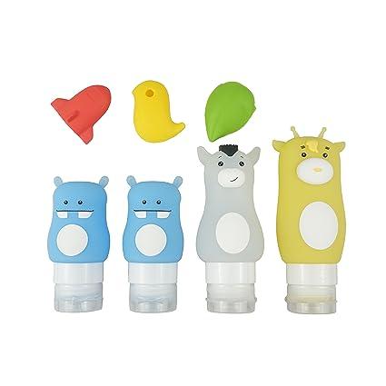 sciuU Botella Viajes, Dibujos Animados, 3 Cubiertas para cepillo de dientes + 4 Botellas