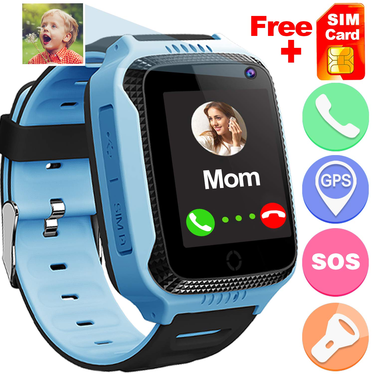 Qiwoo Kids Smart Watch Phone GPS Tracker for Girls Boys Fitness Tracker Pedometer Watches with Anti Lost SOS Alarm Clock Touch Camera Games Phone Watch Birthday Gifts