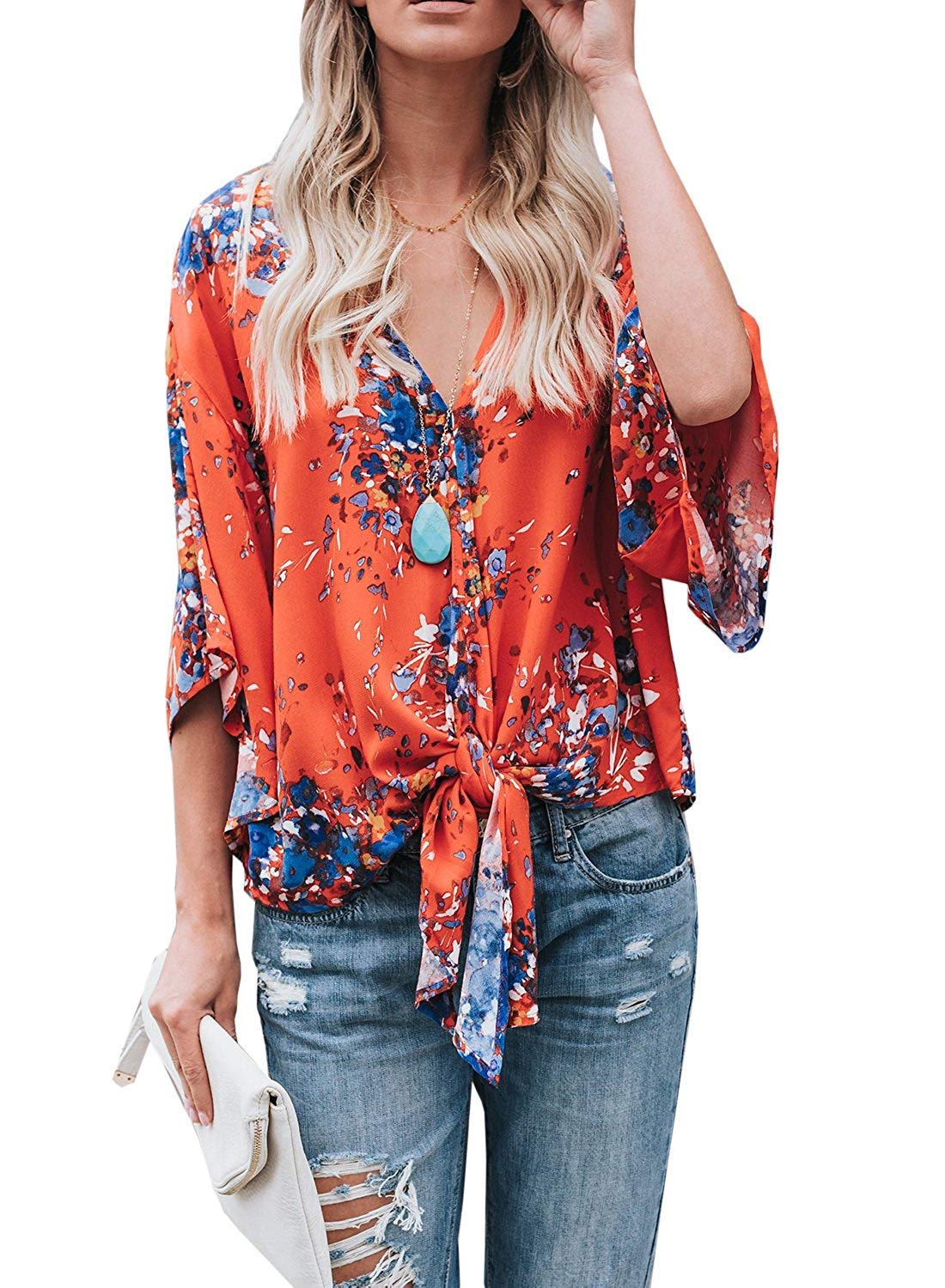 Freemale Womens Short Sleeve Shirts V Neck Floral Tie Front Flare Chiffon Blouses