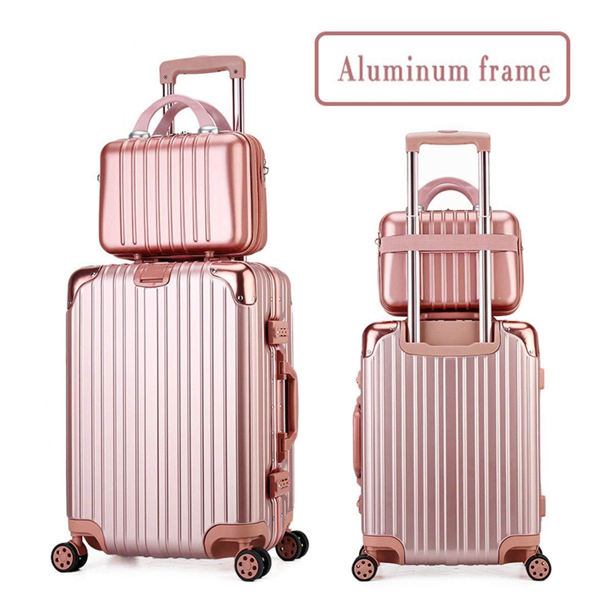 スーツケース+化粧品ケースセット、ユニバーサルホイール&ロック大容量多機能に乗って新しいファッショントロリー,rose,20+14inch B07S3QWXZS rose 20+14inch