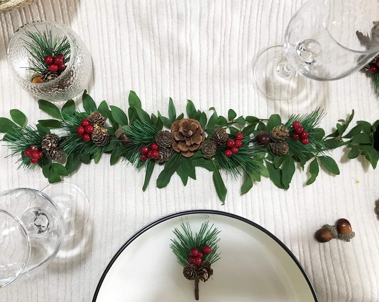 20 Pcs Christmas Tree Picks Christmas Floral Picks and Sprays with Red Berry Pinecones for Xmas Decor