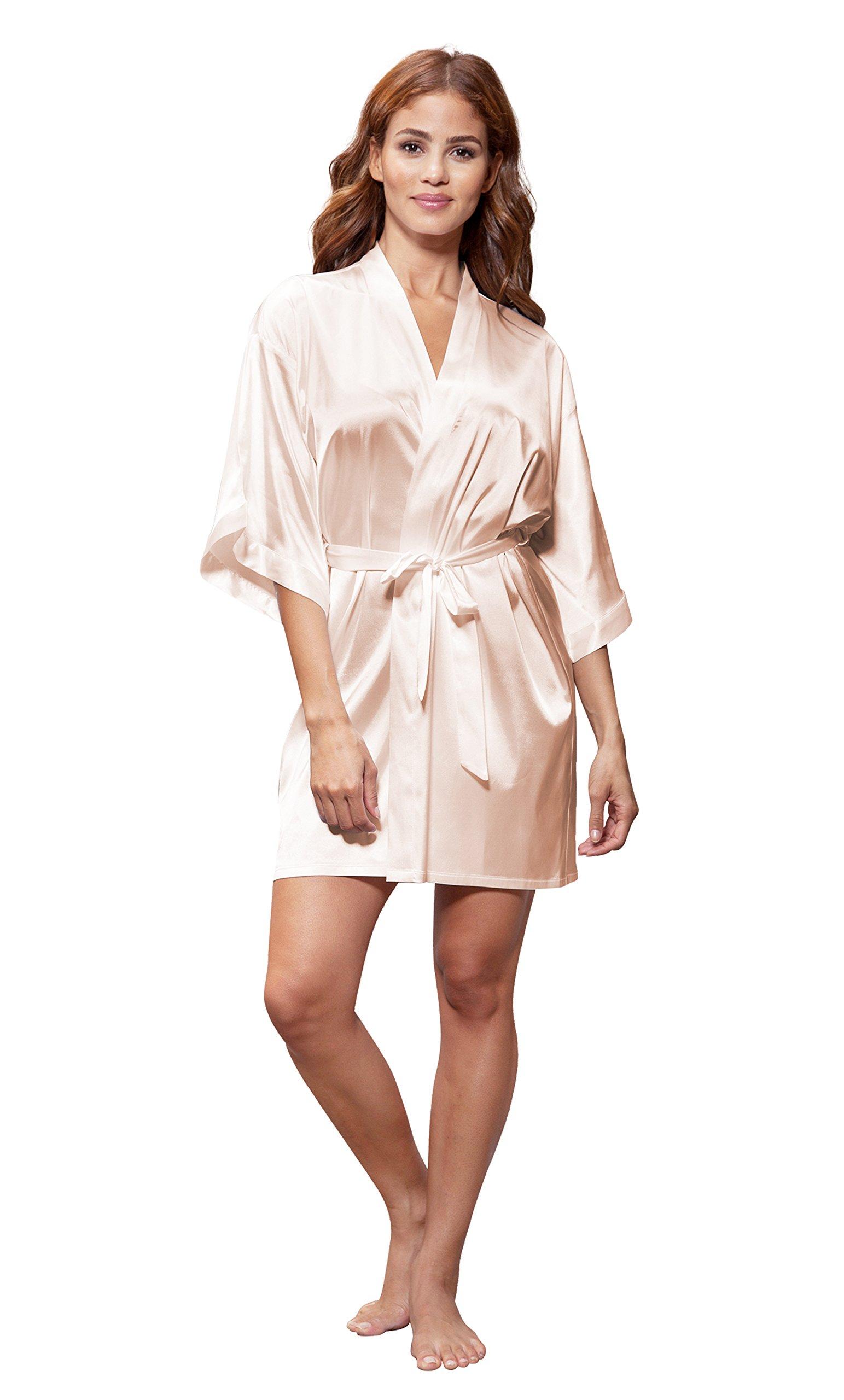 Turquaz Linen Satin Kimono Bridesmaids Robe (Small/Medium, White Peach)