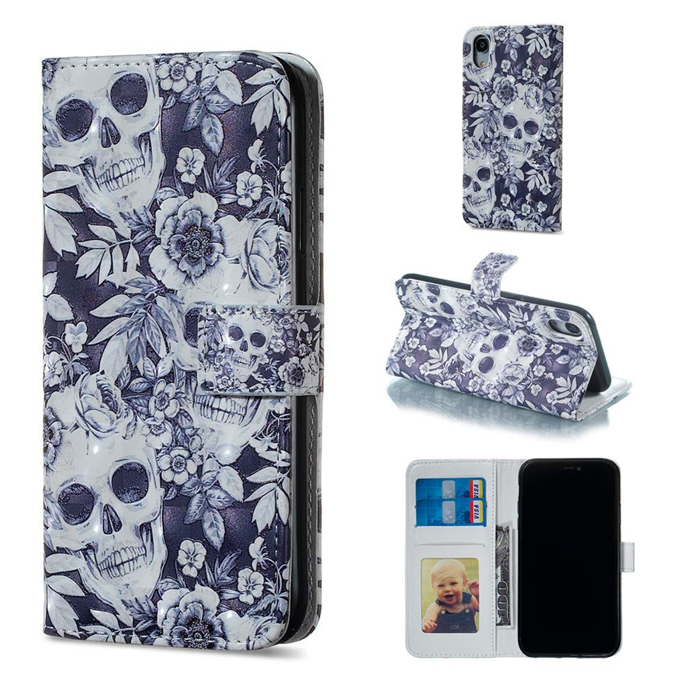 anzeal iPhone Xr Wallet Case,Colourful Case Flip Leather Cover,Card Slot Holder with Kickstand Magnetic Closure Protective Compatible with iPhone Xr Skull