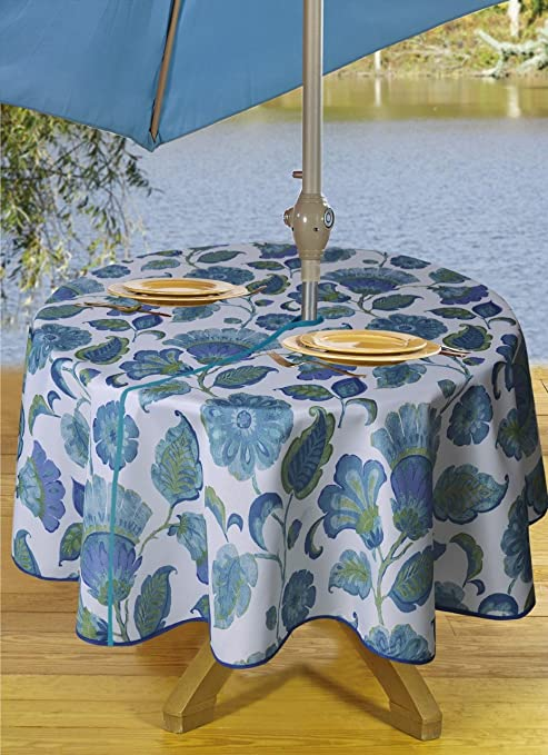 Round Tablecloths Outdoor Tablecloth With Umbrella Hole Zipper Blue 60 Inch Washable Poly Floral