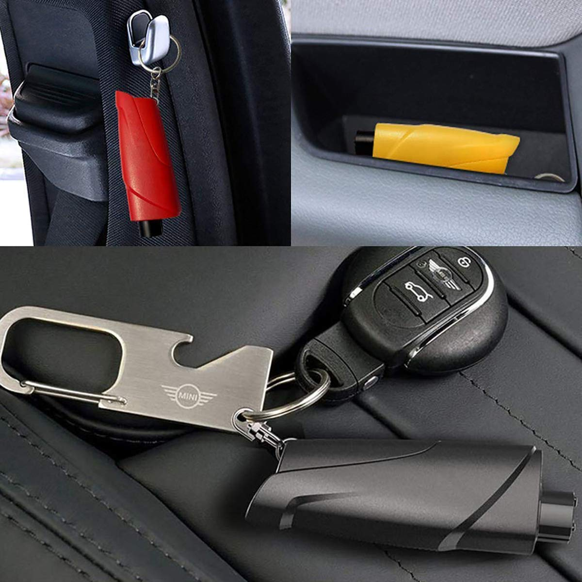 Martillo de Seguridad para Escapar del Coche Llavero 3 en 1 Herramientas de Ahorro de Vida para Vidrio de Ventana SZFREE Martillo de Emergencia Cortador de cintur/ón de Seguridad