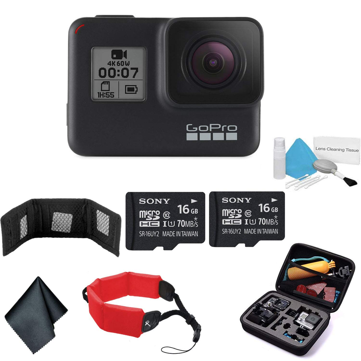 GoPro HERO7 (Black) ? Waterproof Digital Action Camera with Touch Screen 4K HD Video 12MP Photos Live Streaming Stabilization - Bundle with 2X 16GB Memory Cards + Floating Strap + More