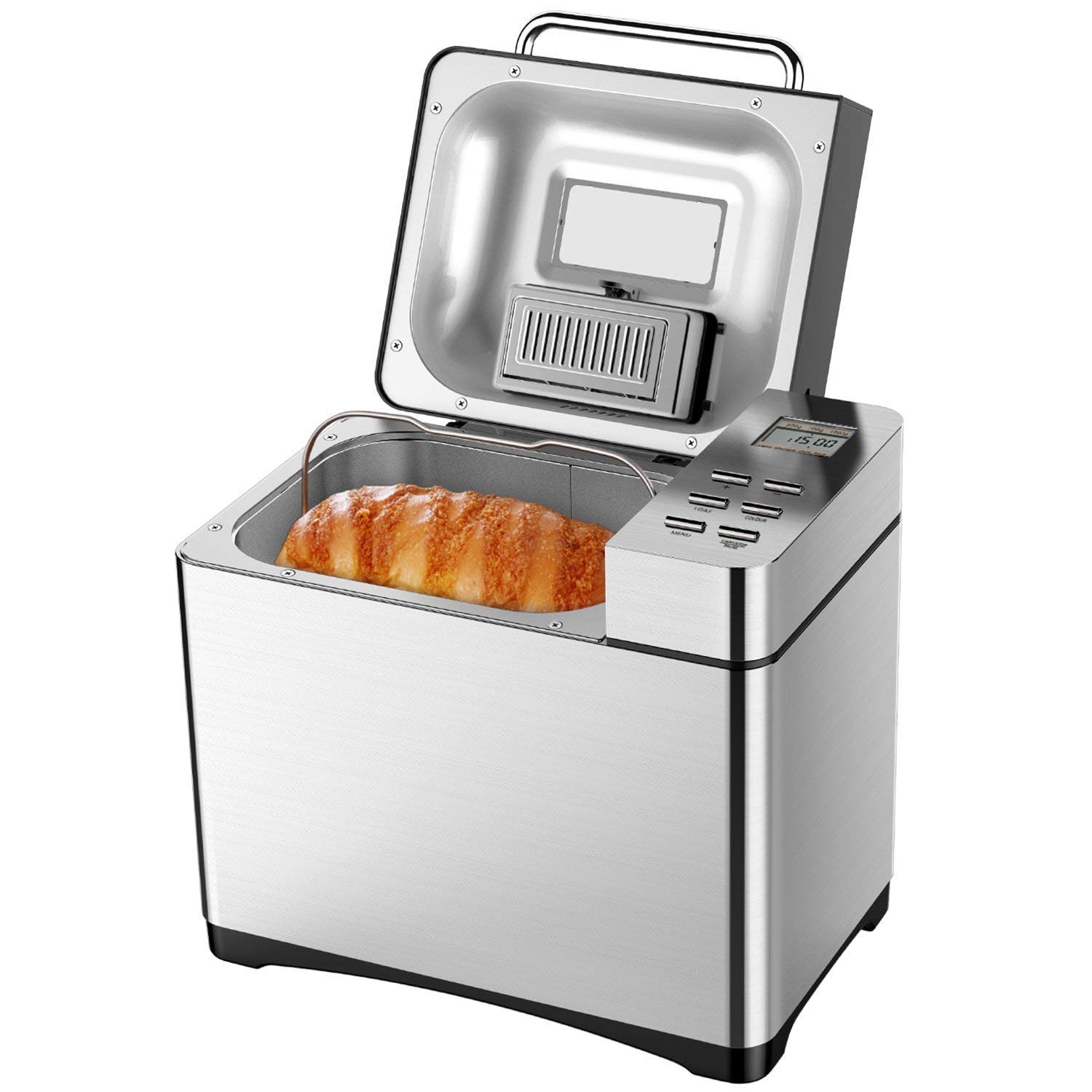 Aicok Automatic Bread Maker 2.2LB Fully Stainless Steel Bread Machine with Dispenser(19 Programs, 3 Loaf Sizes, 3 Crust Colors, 15-Hour Delay Timer, 1H Keep Warm, Gluten Free Setting)