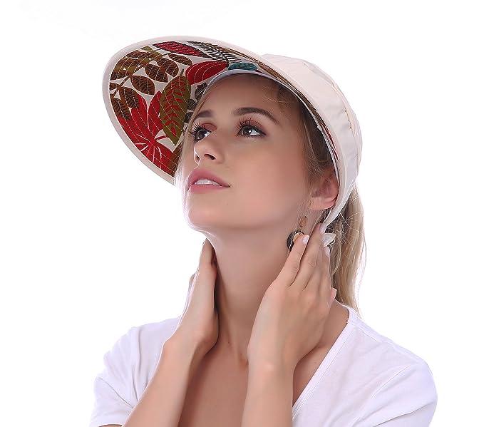 fc579d89826c3 JAKY Global Women Sun Visor Hats Ponytail Cap Wide Brim Floppy UV  Protection Summer Beach Glof