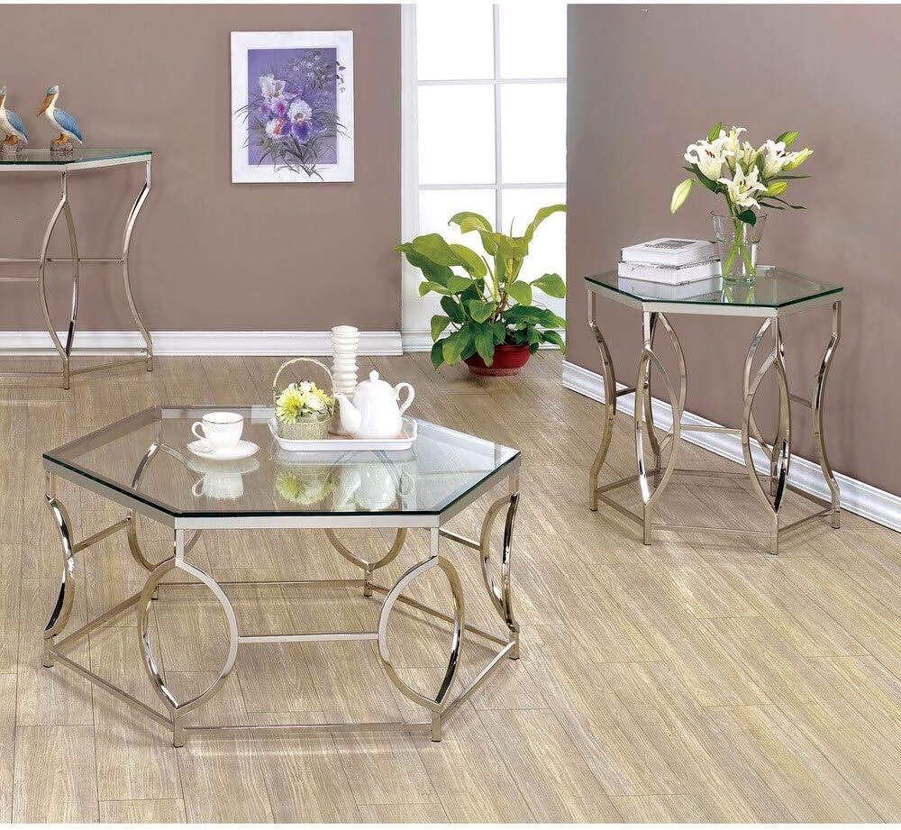 Furniture of America Martello Contemporary 2-Piece Chrome Glass Coffee Table Set