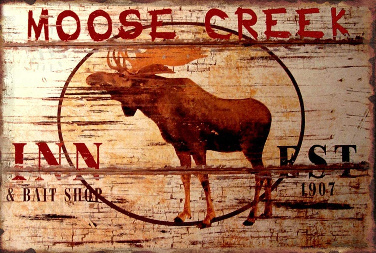 Moose Creek Inn Lodge Cabin Bar Hotel Rustic Cabin Metal Tin Sign Men Women,Wall Decor for Bars,Restaurants,Cafes Pubs elk Metal Sign School Season 8x12 inch