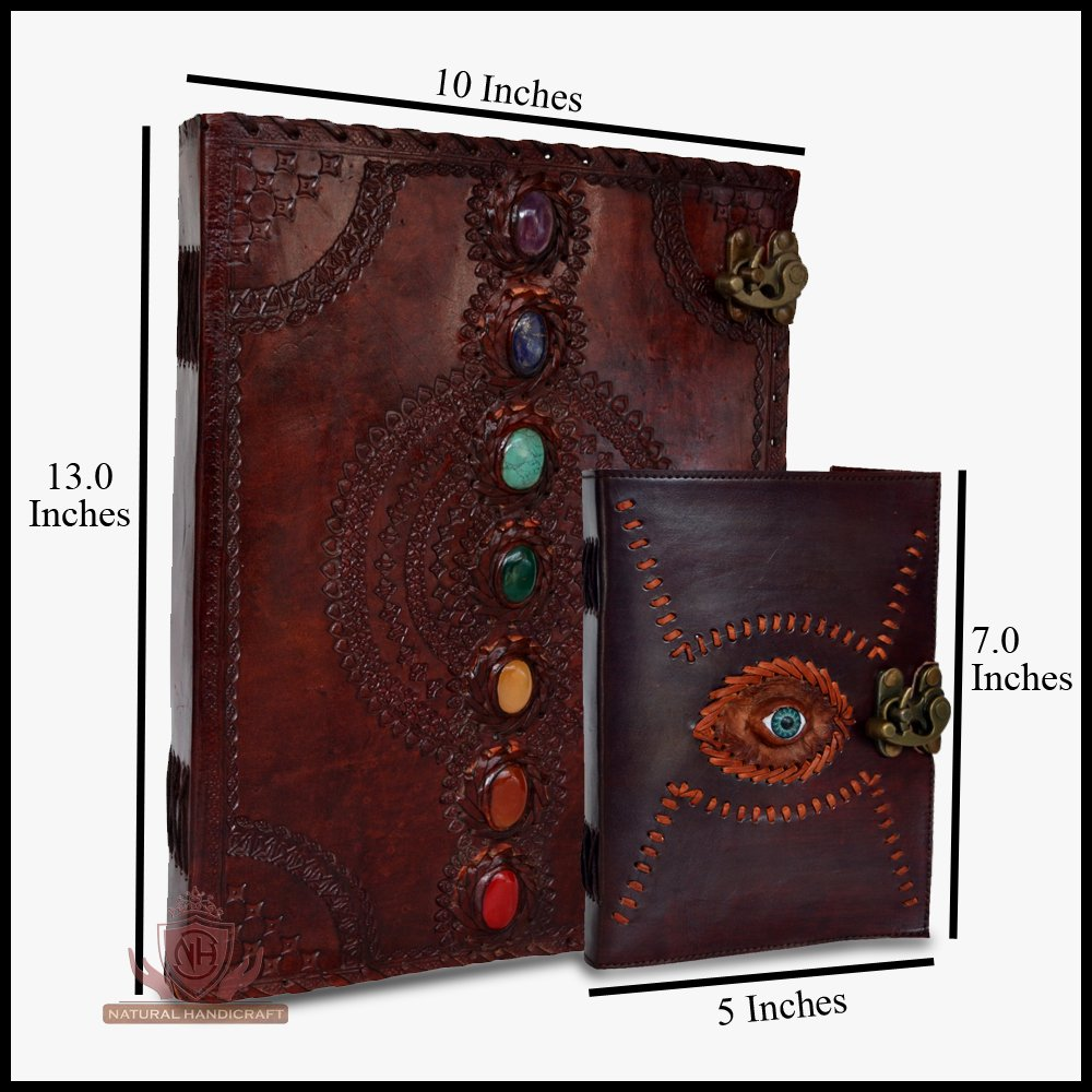 Leather Journal Seven Chakra Medieval Stone Embossed with Gods Eye Notebook Handmade Book of Shadows Notebook Office Diary College Book Poetry Book Sketch Book
