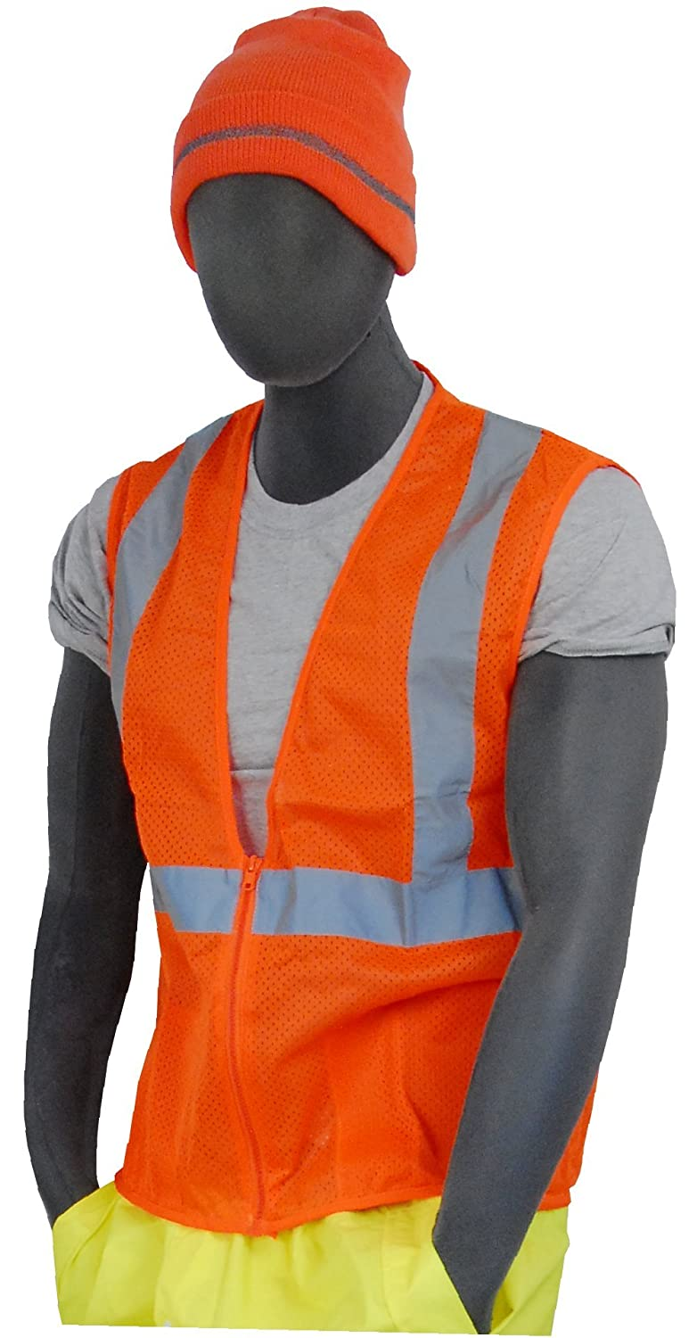 Orange 75-3202-X2 2X-Large Majestic Glove 75-3202 Fabric High Visibility Mesh Vest with Silver Reflective Striping and Zipper Closure