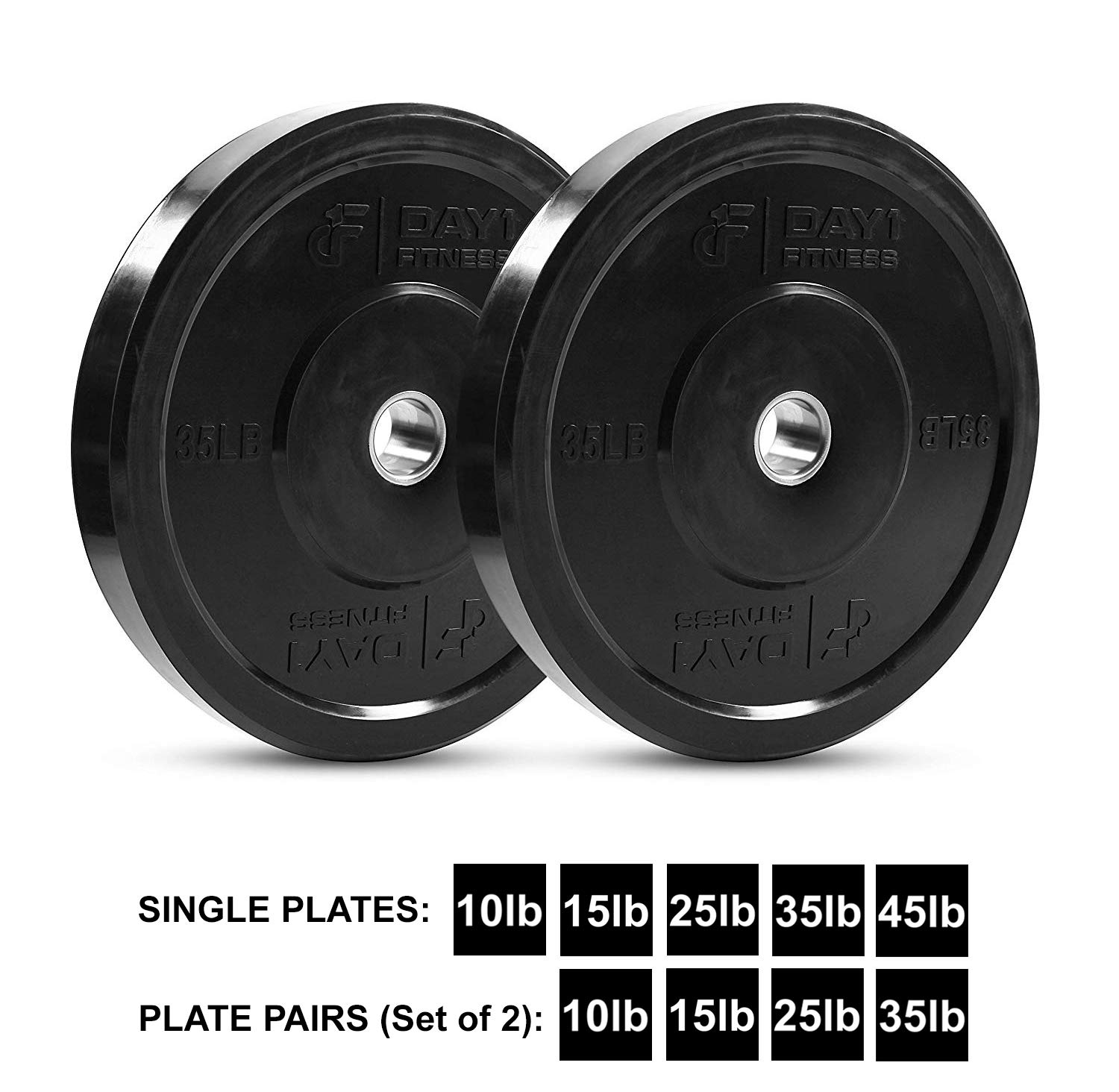 "Day 1 Fitness Olympic Bumper Weighted Plate 2"" for Barbells, Bars – 35 lb Set of 2 Plates - Shock-Absorbing, Minimal Bounce Steel Weights with Bumpers for Lifting, Strength Training, and Working Out by Day 1 Fitness (Image #1)"