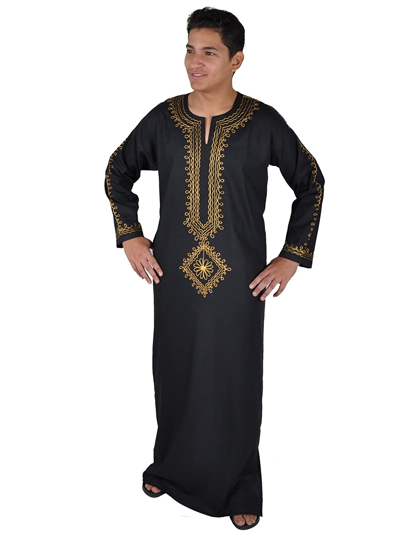 Moderner Herren-Kaftan Hauskleid, schwarz / gold KAM00632