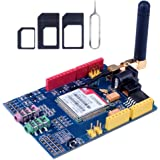 Kuman SIMCOM SIM900 GSM GPRS Quad-Band Modules 2G Development Shield Board per Arduino UNO R3 Mega con antenna e adattatore Nano Sim