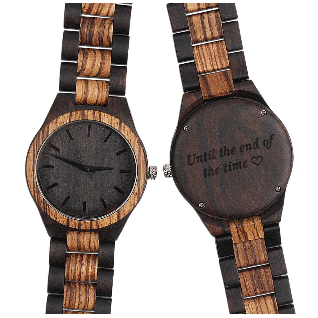 刻印木製男性用時計 – 天然木製腕時計 – Groomsmen男性メンズの – カスタマイズ結婚記念日のギフトギフト FBA-506-1 B07BWDBR9Z FBA-506-1 FBA-506-1