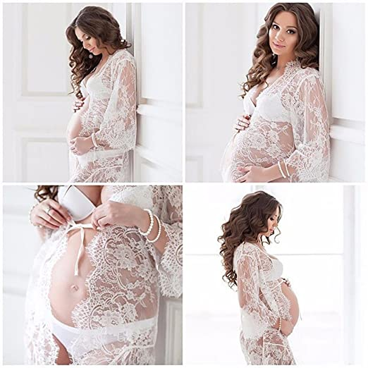 99459f841119 Gofypel Maternity Dress Women Pregnant Long Dress Sexy Photography Props  Maxi Dress Baby Shower Split Front