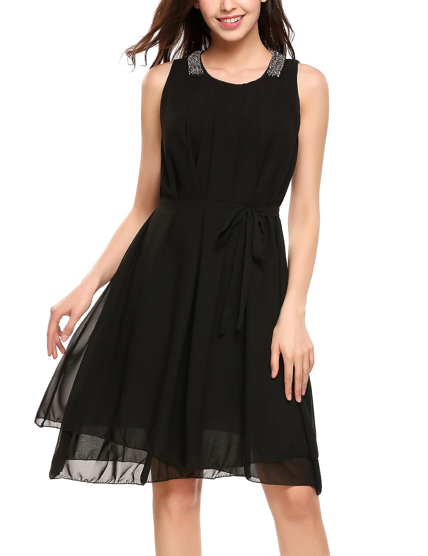 Beyove Damen Chiffon Kleid Sommerkleid mit Plissee-Falten Spitzenkleid Cocktailkleid Brautjungfernkleid /Ärmellos