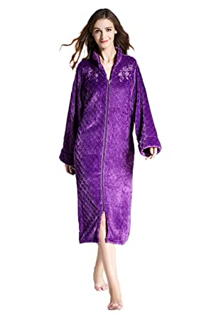 57d1deb992 Women Flannel Floral Embroidery Stand Collar Soft Plush Zip-Front Bathrobe  Long Sleepwear Dark Violet