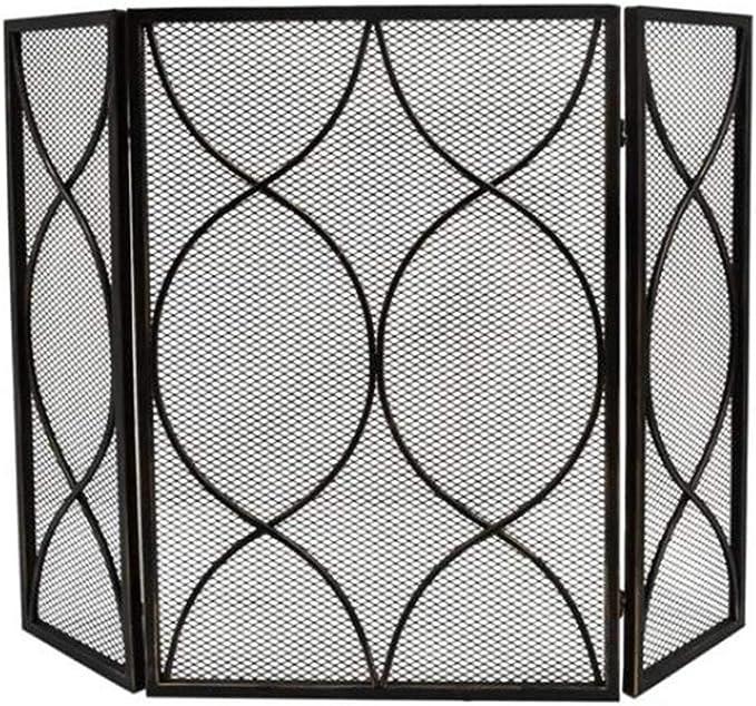 Salvachispas Chimenea Protector Chimenea Puertas de chimenea de pantalla de chimenea de 3 paneles, pantallas de puerta de chimenea de hierro forjado clásicas, accesorios de estufa de gas de interior d: Amazon.es: