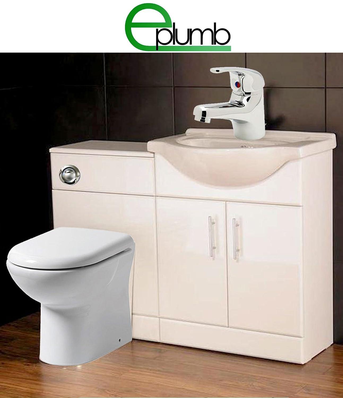 White 550 Bathroom Vanity bination Unit Cloakroom Suite 500 Back
