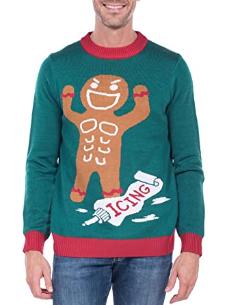 d0835a868c3 Tipsy Elves Men s Gingerbread Man Roid Rage Christmas Sweater - Green Ugly  Christmas Sweater  Medium