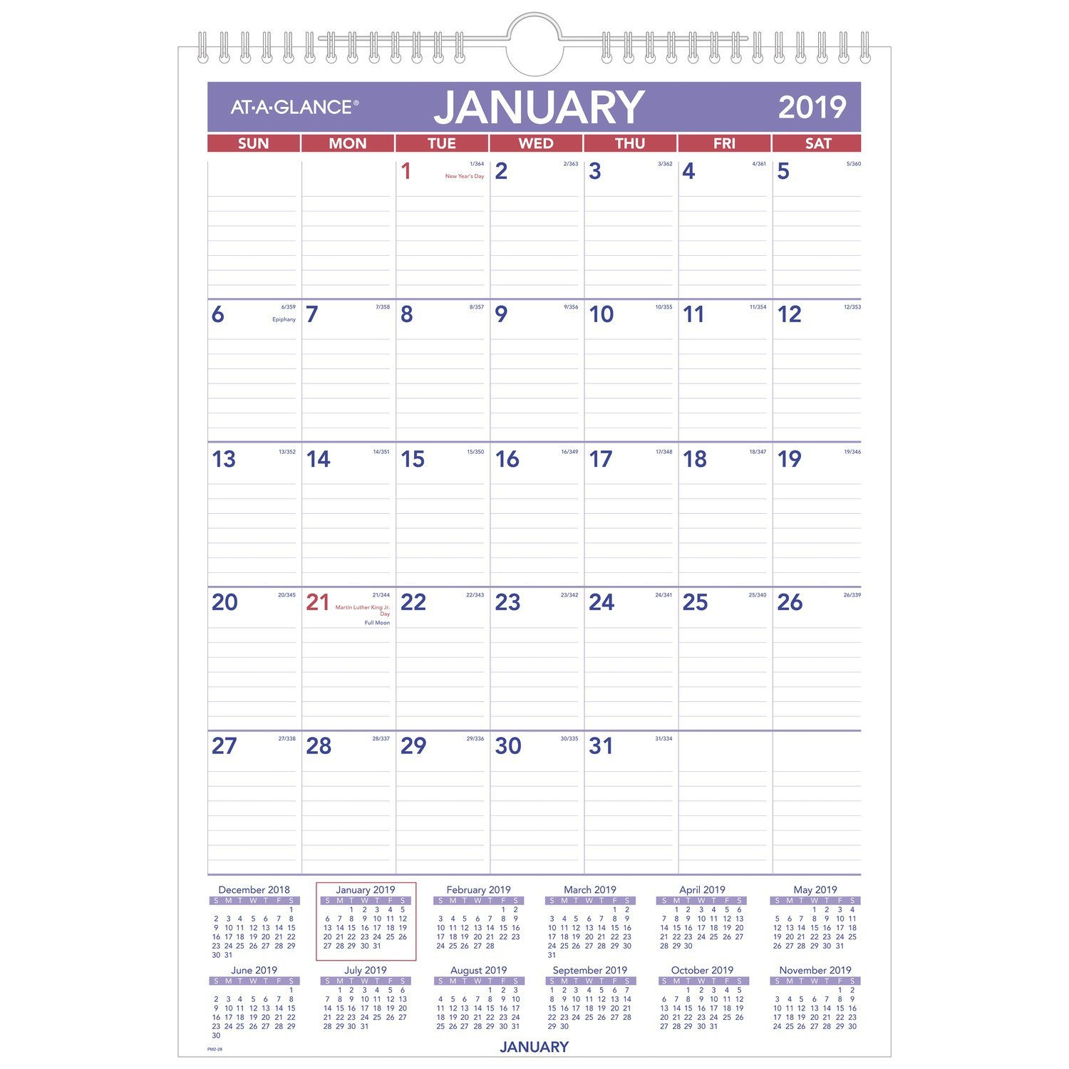 AT-A-GLANCE PM228-18 Monthly Wall Calendar, January 2019 - December 2019, 12'' x 17'', Wirebound (PM228)