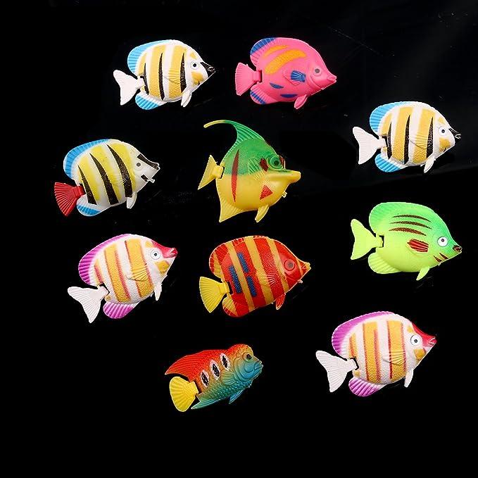 Tinksky Plástico Artificial flotante peces ornamento adornos para acuario peces tanque (estilo aleatorio) 10pcs: Amazon.es: Bricolaje y herramientas