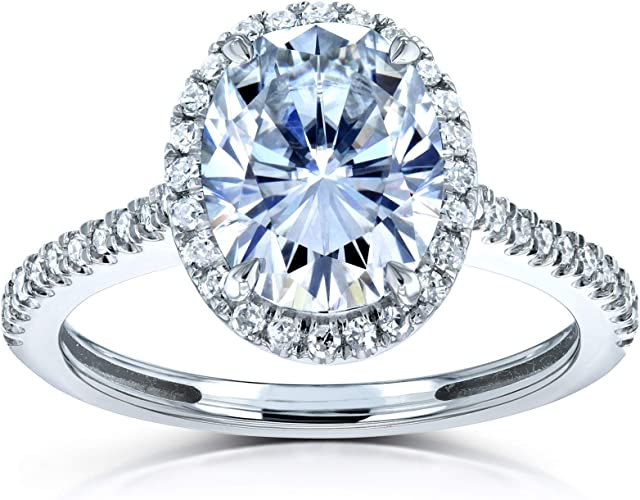 2.00 TCW Round Cut Moissanite 14k White Gold Solitaire Engagement Ring