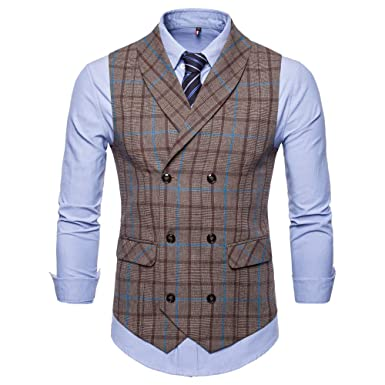 hot sale online 4dec1 197b3 URSING Herren Westen Anzugsweste Karriert Slim Fit V ...