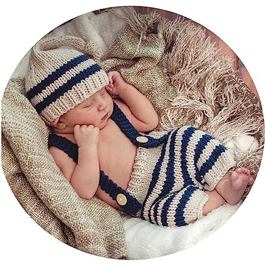 16ff53b22 Amazon.com: Binlunnu Newborn Baby Photography Props Boy Girl Crochet  Costume Outfits Cute Hat Pants: Clothing