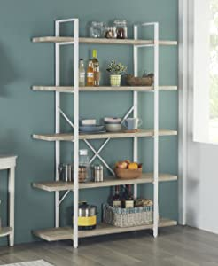 Homissue 5-Shelf Modern Style Bookshelf, Light Oak Shelves and White Metal Frame, Display Storage Rack for Collection, 70.0-Inch Height