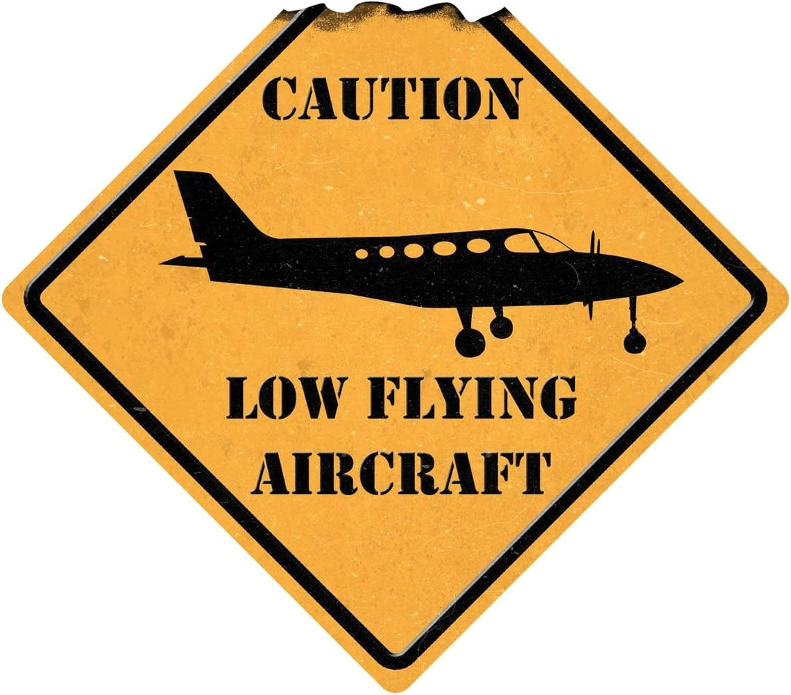 Sporty's Indoor and Outdoor Caution Low Flying Aircraft Metal Sign Airplane Decor Aviation Wall Art