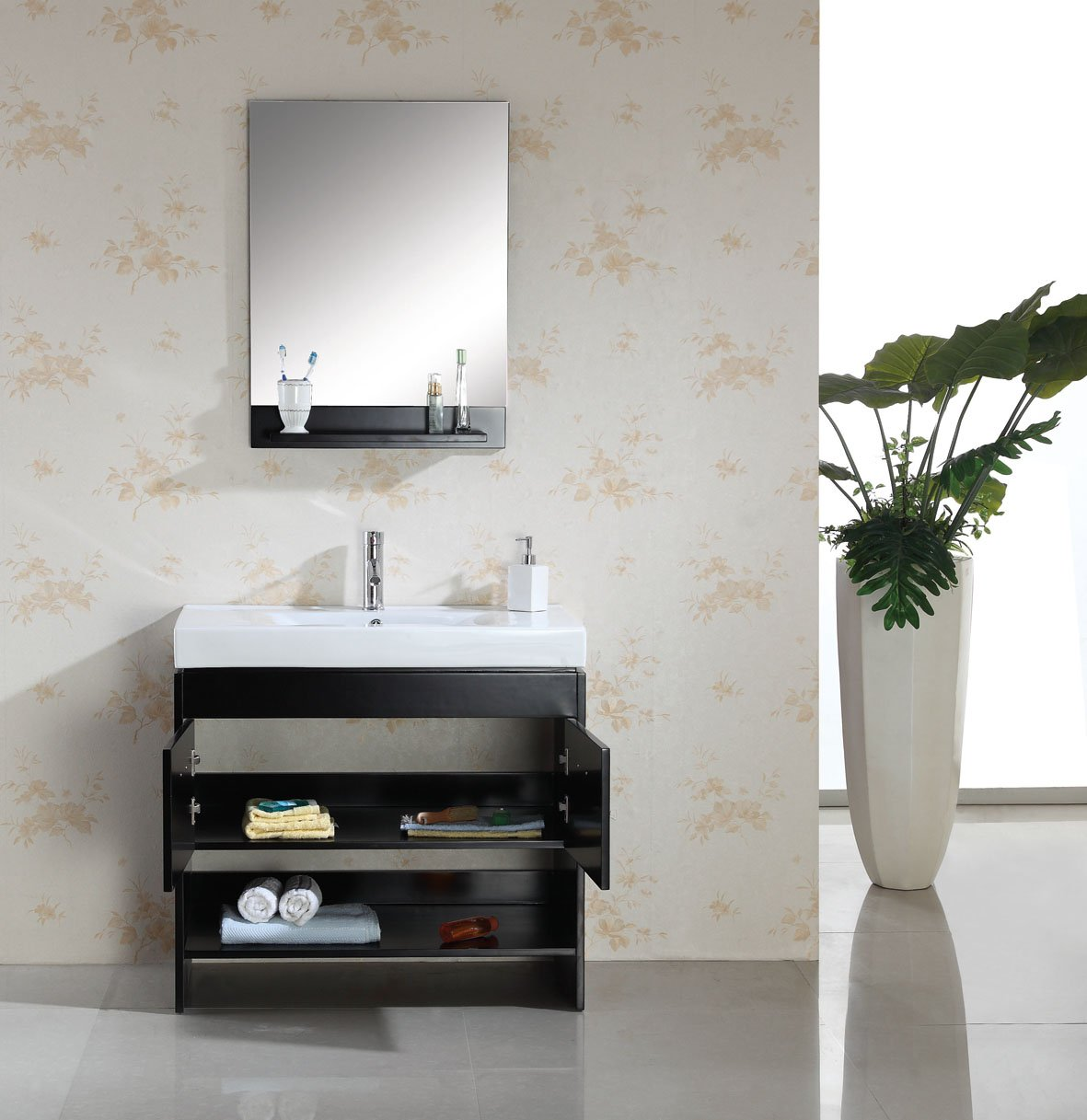Virtu Usa Ms555ces Gloria 36inch Single Sink Bathroom Vanity Set With  Shelf, Espresso Finish   Amazon