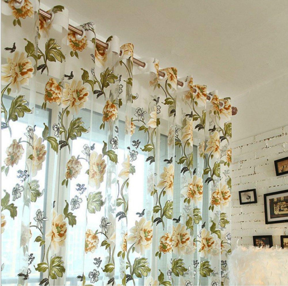 Gelb Transparent Gardine Vorhang Bestickt Sheer aus Voile Rose Stickerei Schlaufenschal Dekoschal F/ür K/üche Wohnzimmer Das Schlafzimmer Fenster Screening