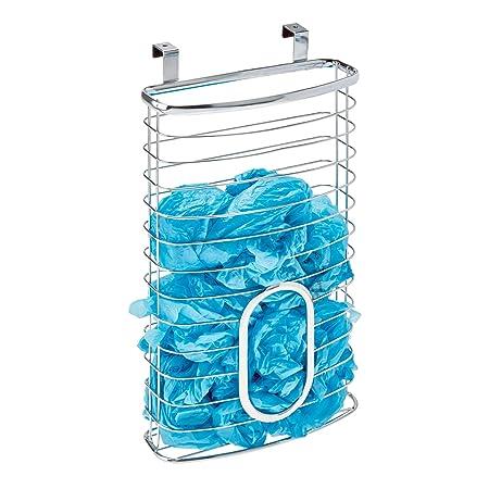 InterDesign Axis Cesta colgante para guardar bolsas de plástico, guarda bolsas para puerta en metal, dispensador de bolsas, plateado