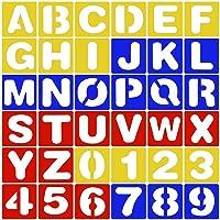 Hotaluyt 26pcs Letras del Alfabeto de la Plantilla + 10PCS Número PP Plantillas Conjunto de Plantillas Pintura Dibujo…