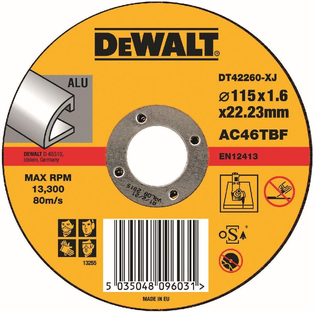 Dewalt DT42260 Aluminium Cutting, T1 (S), 115 mm x 1.6 mm x 22.2 mm DT42260-XJ