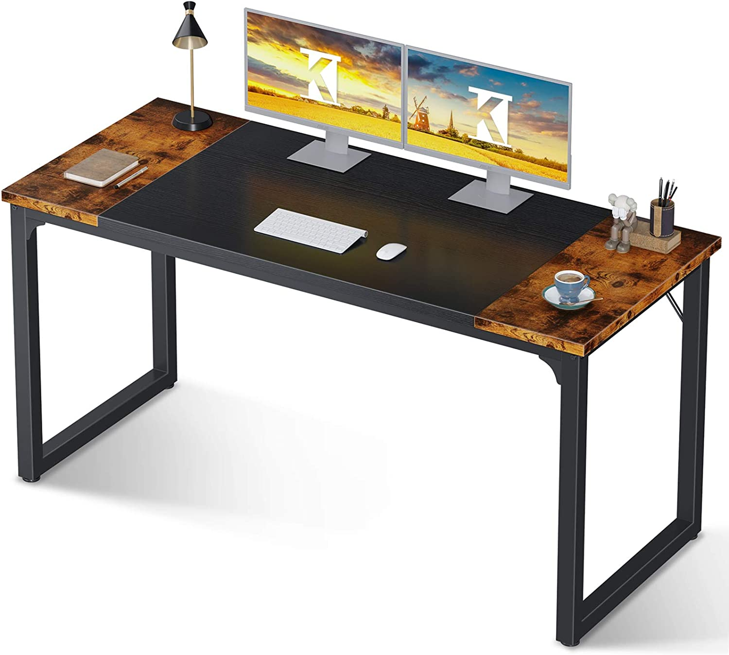 Coleshome Computer Study Writing Desk 55 inch,Work Home Office Desk for Small Space, Student Desk with Splice Board, Vintage and Black