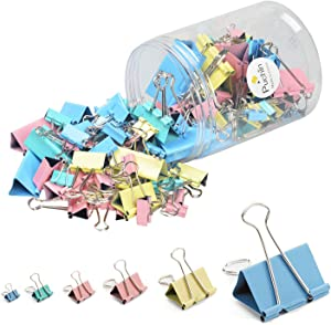 120 Pcs Binder Clips with 6 Sizes, 4 Colors,Metal Fold Back Clips Packaged in a Reusable Plastic Tub for Office,School and Home Supplies