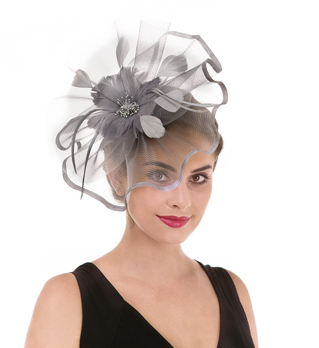 Fascinator Hat Feather Mesh Net Veil Party Hat Ascot Hats Flower Derby Hat with Clip and Hairband for Women
