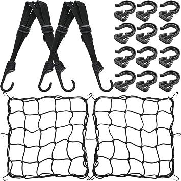 Black 2x Bungee Cargo Net Motorcycle Cord Helmet Storage Bag Mesh Heavy-Duty