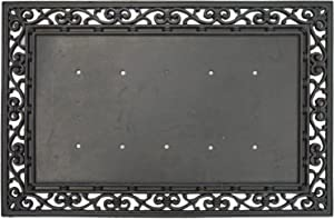 "Evergreen Flag Black Swirl Decorative Rubber Mat Tray - Door Mat Sold Separately - 36""W x 24""H"