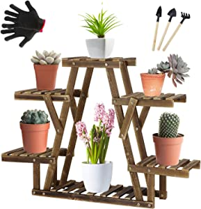 Tall Plant Stand with Wheels, Wood Flower Shelves Indoor Outdoor Planter Rack for Patio Garden Corner Balcony Living Room (Star Shape-D1)