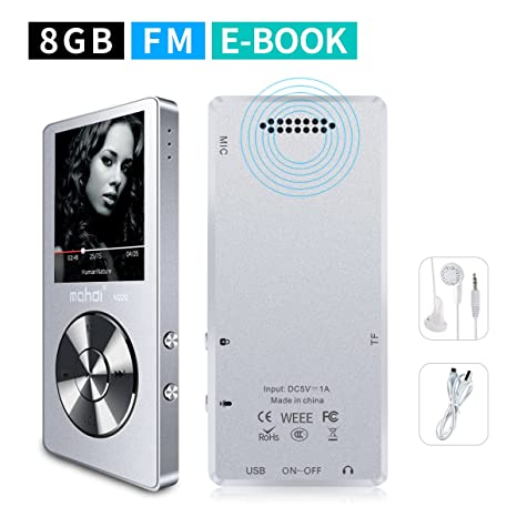 MYMAHDI 8GB Portable MP3 Player(Expandable Up to 128GB), Music  Player/One-Key Voice Recorder/FM Radio 70 Hours Playback with External  Speaker HD