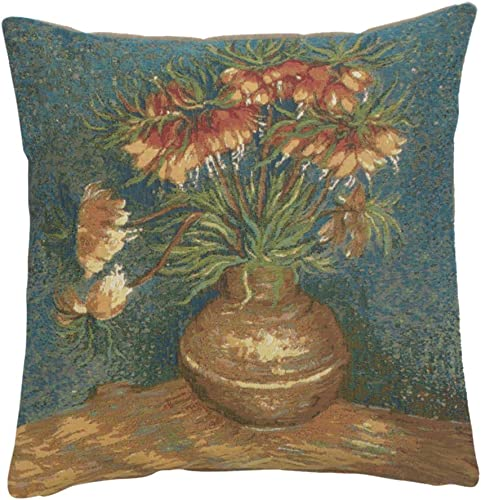 Charlotte Home Furnishings Inc. Lilies by Van Gogh Authentic Jacquard Cotton Woven Gobelin France Tapestry Pillow Cases 19 x19 in. Home Decor Textured Throw Pillow Covers