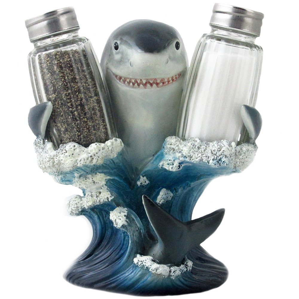 Decorative Great White Shark Glass Salt and Pepper Shaker Set with Holder Figurine for Beach Bar or Tropical Kitchen Decor Sculptures & Table Decorations by Home 'n Gifts