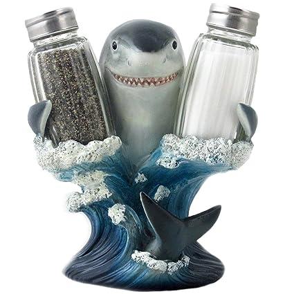 Good Decorative Great White Shark Glass Salt And Pepper Shaker Set With Holder  Figurine For Beach Bar